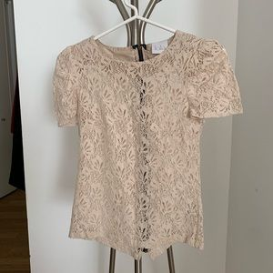 BCBG cream lace sheer top